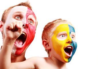 Two screaming fans - Poland Ukraine