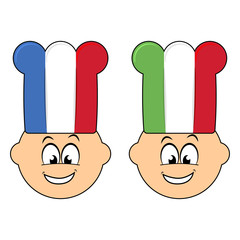 French and italian happy cook cartoon over white