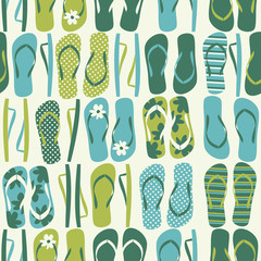 Seamless pattern with flip flops in green and blue.