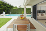 Fototapety Modern backyard and living room