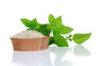 Spa Salt and Fresh Mint Leaves