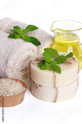 Spa Still Life - Towels, Body Salt, Soap and Essential Oil