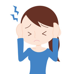 女性 上半身 頭痛