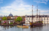 Panorama of Amsterdam with VOC Ship