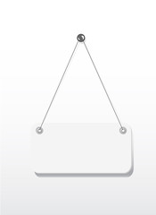 Blank signboard hanging with wire and nail isolated on white