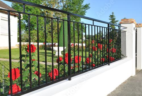 Leinwanddruck Bild clôture fleurie de rosiers