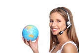 woman beautiful smiling office operator whit globe
