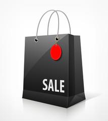 Shopping black bag for sale vector illustration