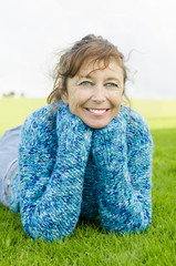 A happy laughing woman