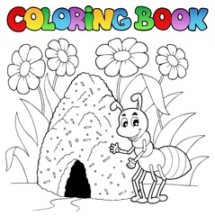 Coloring book ant near anthill