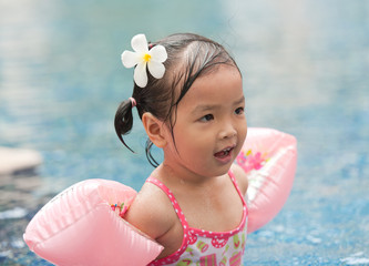 Little girl swimming in pool