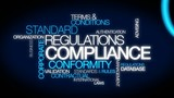 Compliance regulations word tag cloud animation video poster