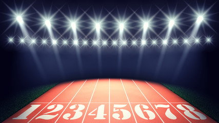 Track lanes and floodlights , summer olympics