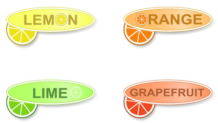 Labels of four citrus fruits