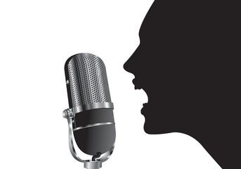 shilouette con microfono