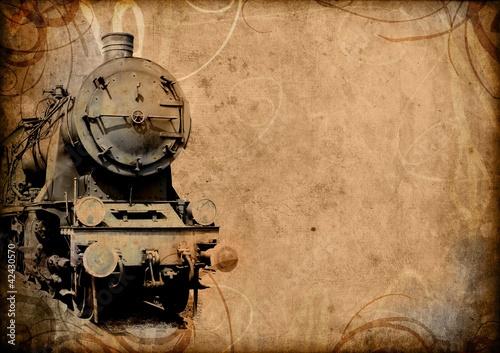 Retro- Vintage Technologie, alter Zug, Schmutzhintergrund