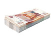 Russian money 1000 and 5000 rubles on a white background
