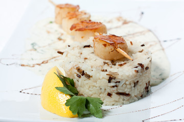 Rice with grilled fish and white sweet sauce