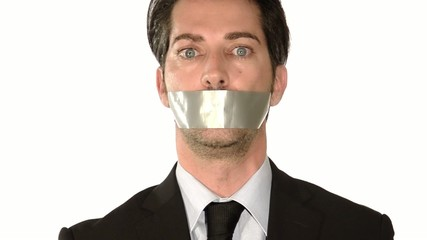 businessman gagged with tape