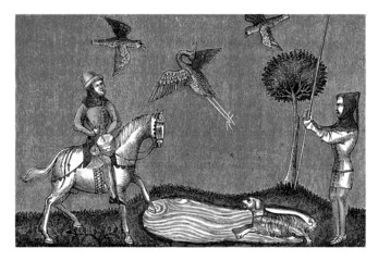 Medieval Scene : Hunting Birds - 14th century