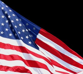 the american flag against a black background