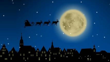 Weihnachtsmann mit Rentierschlitten über einer Stadtkulisse