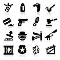 Crime Icons set Elegant series
