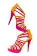 Pare of pink and orange shoes, isolate on white background