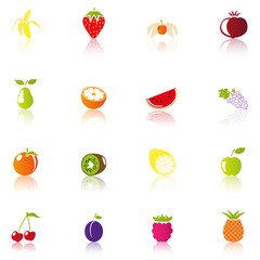 16 Colorful Fruits Icons
