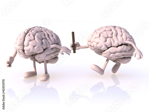 relay race between brains
