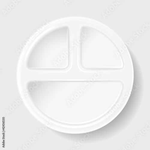 disposable plastic plate with three sections