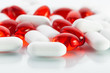 Vitamin pills: Red capsules and white tabs