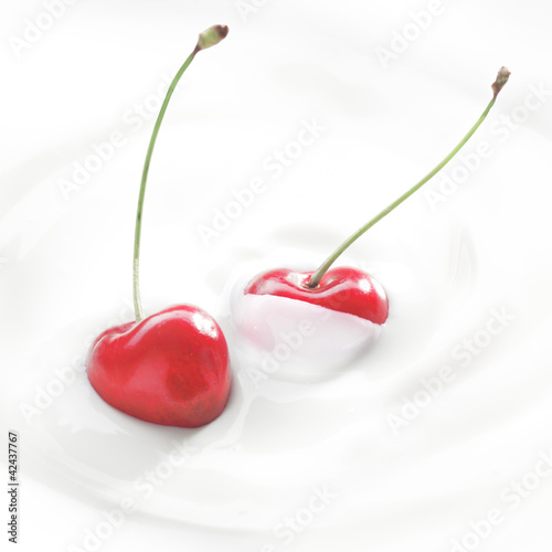 Sticker Fresh cherries in cream or yoghurt