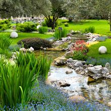 Ogród ze stawem w stylu azjatyckich