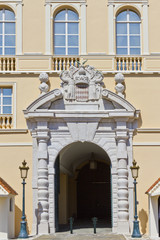 Baroque Entrance and arms of Prince. Prince's Palace of Monaco