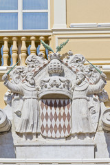 The arms of the Prince of Monaco. Prince's Palace of Monaco