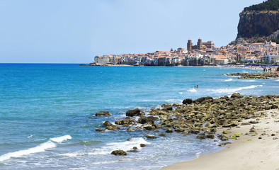 Beach of Cefalu in Sicily