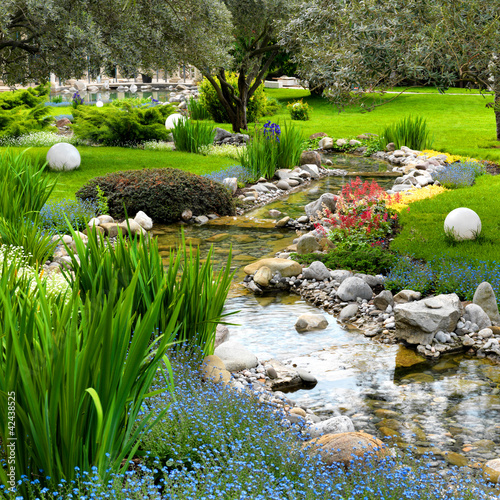 Canvas Meer garden with pond in asian style