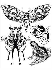 set with decorative silhouettes of fantastic animals