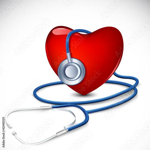 Stethoscope around Heart