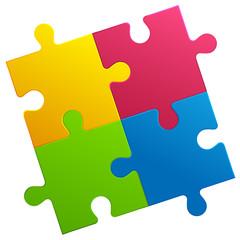 Puzzlespiel - gelb - rot - grün - blau
