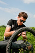 Repair the wheel of a bicycle. Pump