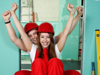 Young couple is happy to renovate their bathroom