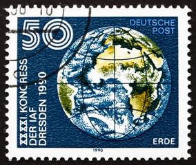 Postage stamp GDR 1990 Earth Globe