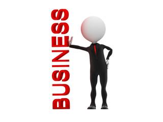 3d businessman standing near business word on whiteboard