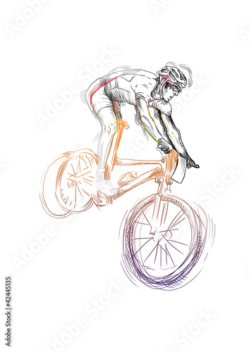 mountain bike cyclist (this is original sketch - coloration)