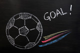 Chalk drawing of Football and Goal poster