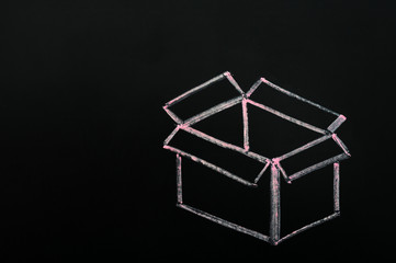 """Chalk drawing - concept of """"Think outside the box"""""""