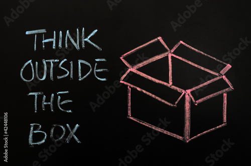 "Chalk drawing - concept of ""Think outside the box"""