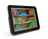 Tablet pc with bookshelf - e-book library concept